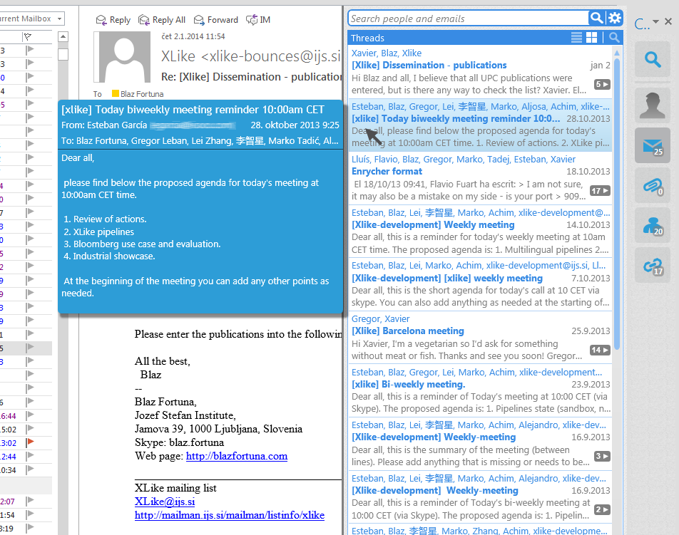 Outlook sidebar showing recent emails that include the sender of the email selected in Outlook